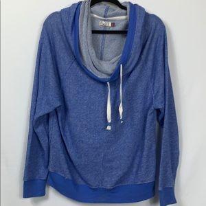 So heather blue long sleeved cowl neck sweatshirt